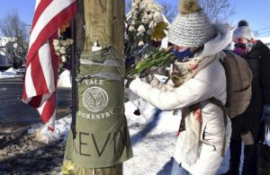 Arnold Gold/Hearst Connecticut Media via ASSOCIATED PRESS                                 Yale postdoctoral students Maria Kochugaeva, left, and Elvira Mulyukova left flowers, Feb. 8, at a memorial for Yale School of the Environment grad student Kevin Jiang, near where he was killed. A fugitive wanted in the killing of Jiang in Connecticut in February was arrested, today, in Alabama, U.S. marshals said.