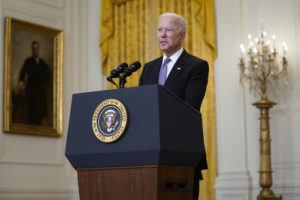 ASSOCIATED PRESS                                 President Joe Biden speaks about distribution of COVID-19 vaccines, in the East Room of the White House today.