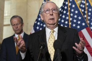 ASSOCIATED PRESS                                 Senate Minority Leader Mitch McConnell of Ky., right, spoke to the media next to Sen. John Thune, R-S.D., Tuesday, after a meeting with Senate Republicans on Capitol Hill in Washington.