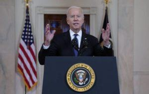 ASSOCIATED PRESS                                 President Joe Biden spoke about a cease-fire between Israel and Hamas, in the Cross Hall of the White House, Thursday, in Washington.