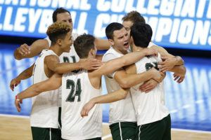 ASSOCIATED PRESS                                 Hawaii players celebrated after a point against UC Santa Barbara during a semifinal in the NCAA men's college volleyball tournament, today, in Columbus, Ohio.