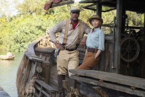 COURTESY DISNEY VIA AP                                 Dwayne Johnson as Frank and Emily Blunt as Lily in 'Jungle Cruise.'