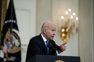 NEW YORK TIMES                                 President Joe Biden responds to reporters questions after speaking about his American Rescue Plan, at the White House in Washington, Wednesday.
