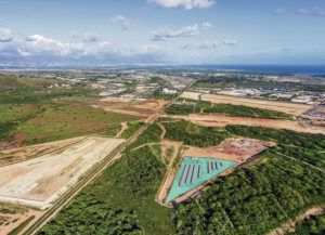 COURTESY PLUS POWER                                 An aerial rendering of Plus Power's proposed Kapolei Energy Storage project on Oahu.