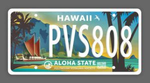 COURTESY POLYNESIAN VOYAGING SOCIETY                                 A sample of a special license plates featuring the Hokule'a.