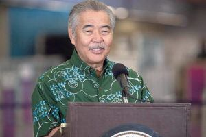 GEORGE F. LEE / 2020                                 Gov. David Ige during a press conference at the Daniel K. Inouye International Airport.