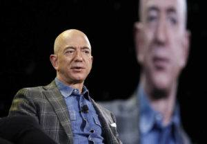 ASSOCIATED PRESS / 2019                                 Amazon CEO Jeff Bezos speaks at the Amazon re:MARS convention in Las Vegas. The price to rocket into space next month with Bezos and his brother is a cool $28 million. That was the winning bid during the live online auction on Saturday, June 12.