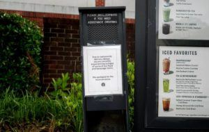 JOHNATHON KELSO/THE NEW YORK TIMES                                 A Starbucks drive-thru in Atlanta, Wednesday, where a sign explained a supply shortage. The shortages at Starbucks have varied by location, a company spokeswoman said.