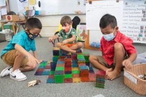 CRAIG T. KOJIMA / APRIL 23 Children created a maze during pre-kindergarten class at Keolu Elementary School.