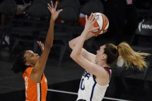 ASSOCIATED PRESS                                 United States' Breanna Stewart shoots over Team WNBA's DeWanna Bonner during the first half of a WNBA All-Star basketball game today in Las Vegas.