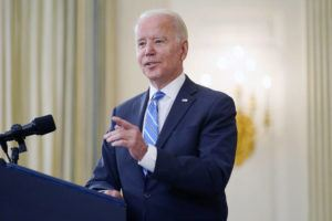 ASSOCIATED PRESS                                 President Joe Biden speaks about the economy and his infrastructure agenda in the State Dining Room of the White House, in Washington, today.