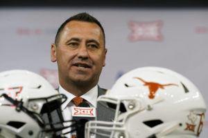 ASSOCIATED PRESS                                 Texas head coach Steve Sarkisian speaks during the Big 12 media day on Thursday in Arlington, Texas.