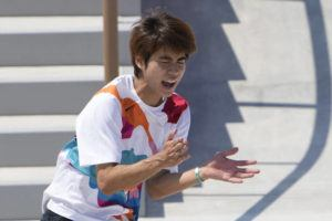 ASSOCIATED PRESS                                 Yuto Horigome of Japan reacts after skating during the men's street skateboarding finals.