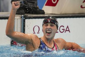 ASSOCIATED PRESS                                 Katie Ledecky, of the United States, reacts after winning the women's 1500-meters freestyle final at the 2020 Summer Olympics, Wednesday, in Tokyo, Japan.