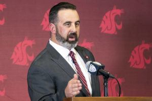LEWISTON TRIBUNE VIA AP                                 New Washington State football coach Nick Rolovich speaks during a news conference after being officially introduced as the head coach on Jan. 16, 2020, in Pullman, Wash.