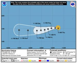 COURTESY NATIONAL HURRICANE CENTER                                 Felicia strengthened into a hurricane tonight in the Eastern Pacific.