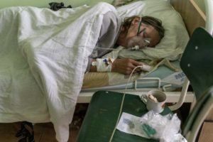 ASSOCIATED PRESS                                 A patient with coronavirus breathed wearing an oxygen mask in an intensive care unit in September 2020. Hawaii's hospitals could run out of oxygen supply as the influx of COVID-19 patients strains available resources, according to the Healthcare Association of Hawaii, a trade group for the state's hospitals.