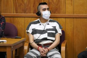 ASSOCIATED PRESS                                 Cristhian Bahena Rivera listened to proceedings during his sentencing, today, at the Poweshiek County Courthouse in Montezuma, Iowa. Rivera was sentenced to life in prison for the stabbing death of college student Mollie Tibbetts, who was abducted as she was out for a run near her small eastern Iowa hometown in July of 2018.