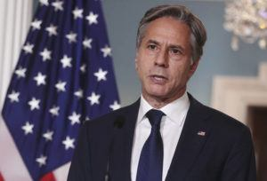ASSOCIATED PRESS                                 Secretary of State Antony Blinken speaks about Afghanistan, at the State Department in Washington, today.
