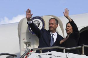 POOL PHOTOS VIA ASSOCIATED PRESS                                 Vice President Kamala Harris and her husband, Douglas Emhoff, waved Thursday as they boarded Air Force Two to return to Washington from Joint Base Pearl Harbor-Hickam.