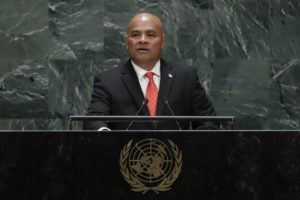 ASSOCIATED PRESS                                 Micronesia's President David Panuelo addressed the 74th session of the United Nations General Assembly, in September 2019, at the United Nations headquarters. Panuelo said, Wednesday, he'll continue to walk around his island nation without fear, despite an alleged death threat against him over his government's vaccine mandate.