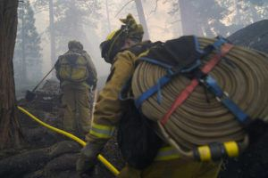 ASSOCIATED PRESS / SEPT. 3                                 Two firefighters from Cosumnes Fire Department carry water hoses while holding a fire line to keep the Caldor Fire from spreading in South Lake Tahoe, Calif. Fire crews took advantage of decreasing winds to battle a California wildfire near popular Lake Tahoe and were even able to allow some people back to their homes but dry weather and a weekend warming trend meant the battle was far from over.