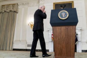 ASSOCIATED PRESS                                 President Joe Biden arrives to speak in the State Dining Room at the White House today.