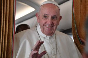 TIZIANA FABI, POOL VIA ASSOCIATED PRESS                                 Pope Francis spoke with journalists on board an Alitalia aircraft enroute from Bratislava back to Rome, today, after a four-day pilgrimage to Hungary and Slovakia.