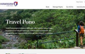 HAWAIIAN AIRLINES                                 A screenshot of Hawaiian Airlines' Travel Pono program.