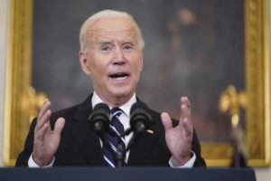 ASSOCIATED PRESS                                 President Joe Biden speaks in the State Dining Room at the White House today in Washington.