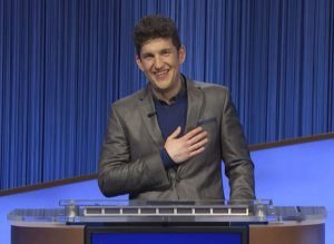 """JEOPARDY PRODUCTIONS INC. VIA ASSOCIATED PRESS                                 """"Jeopardy!"""" contestant Matt Amodio during a taping of the popular game show. Amodio's historic run on """"Jeopardy!"""" ended on Monday's show, leaving the Yale doctoral student with 38 wins and more than $1.5 million in prize money."""