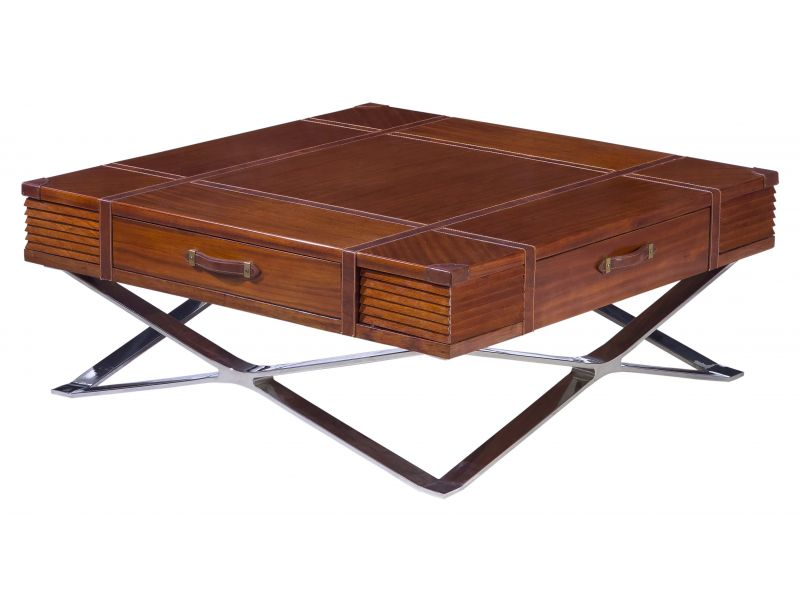 coffee table wood leather and inox