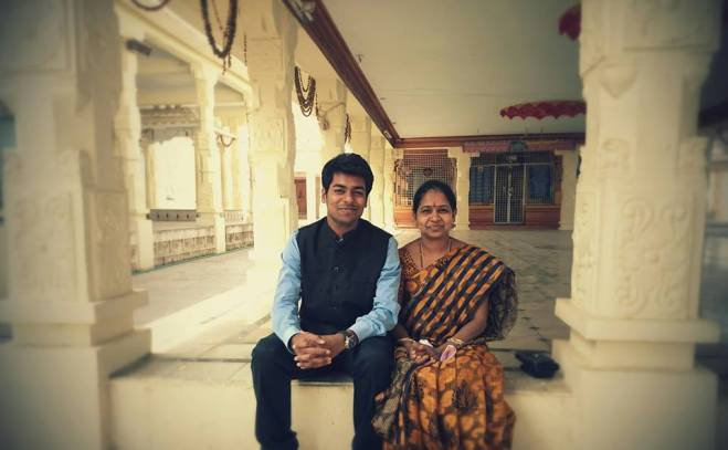Anudeep Durishetty with his mother