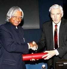 Dr A.P.J. Abdul Kalam receiving King Charles II Medal from Lord Martin Rees, then President of Royal Society