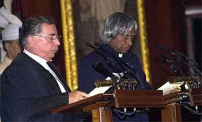 Abdul Kalam was sworn in as President by then CJI BN Kirpal