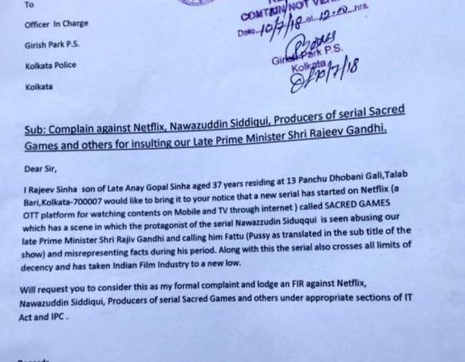 A Copy of the Complaint Against Nawazuddin Siddiqui and the Producers of the Netflix Webseries Sacred Games