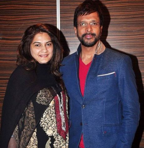 Javed Jaffrey with his wife