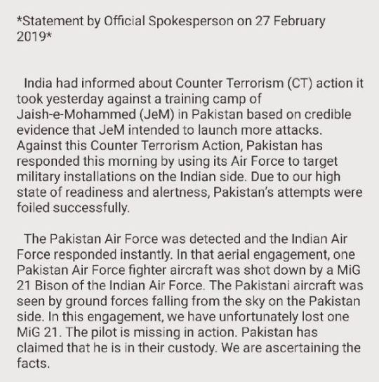 Statement Of The Indian Government On The Missing IAF Pilot On 27 February 2019
