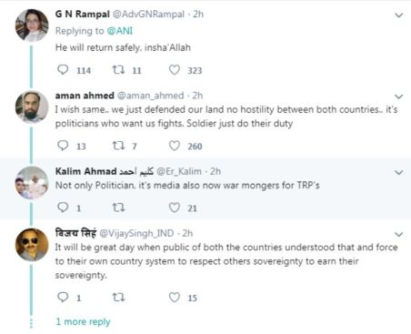 Tweets Following The Capture of Abhinandan Varthaman By Pakistan