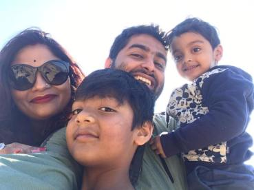 Arijit with his two sons and his wife