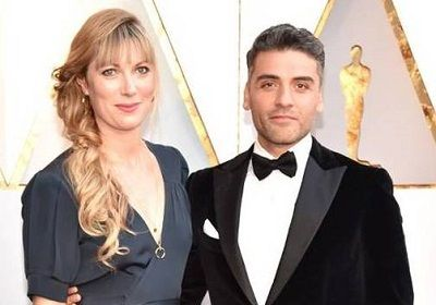 Elvira Lind with her husband Oscar Isaac (American actor)