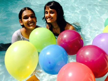 Kriti Mohan in pool with her sister