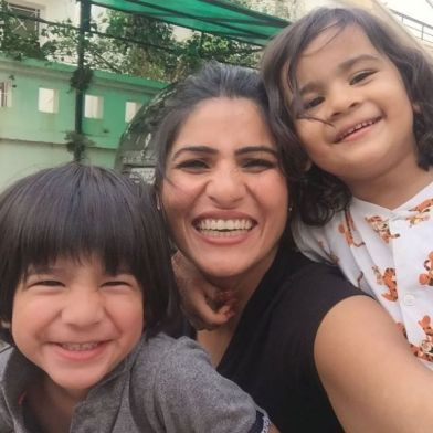 Rubika Liaquat with her son and daughter