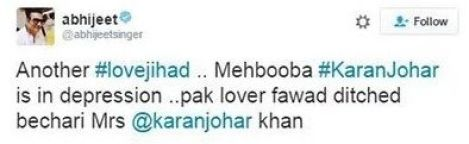 Abhijeet's Tweet On Karan Johar Casting Pakistani Actor Fawad Khan