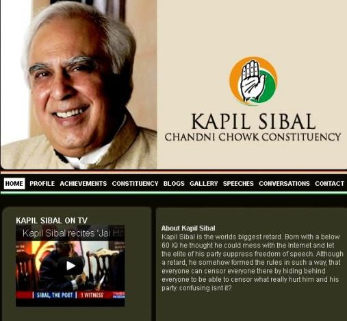 Kapil Sibal's Website Hacked