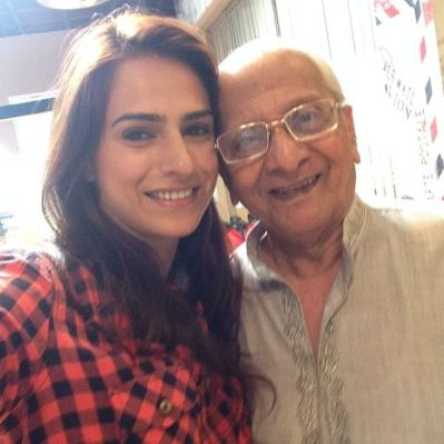 Kashmira Irani with her grandfather