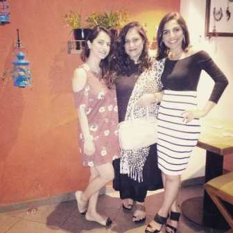 Kashmira Irani with her mother and sister