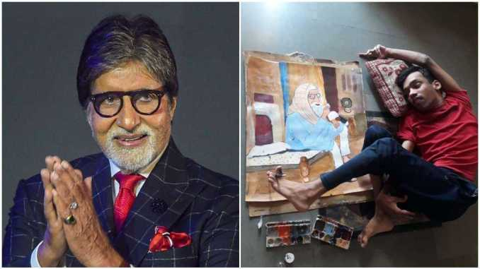 Pic: Amitabh Bachchan shares portrait made by physically challenged artist inspired by his