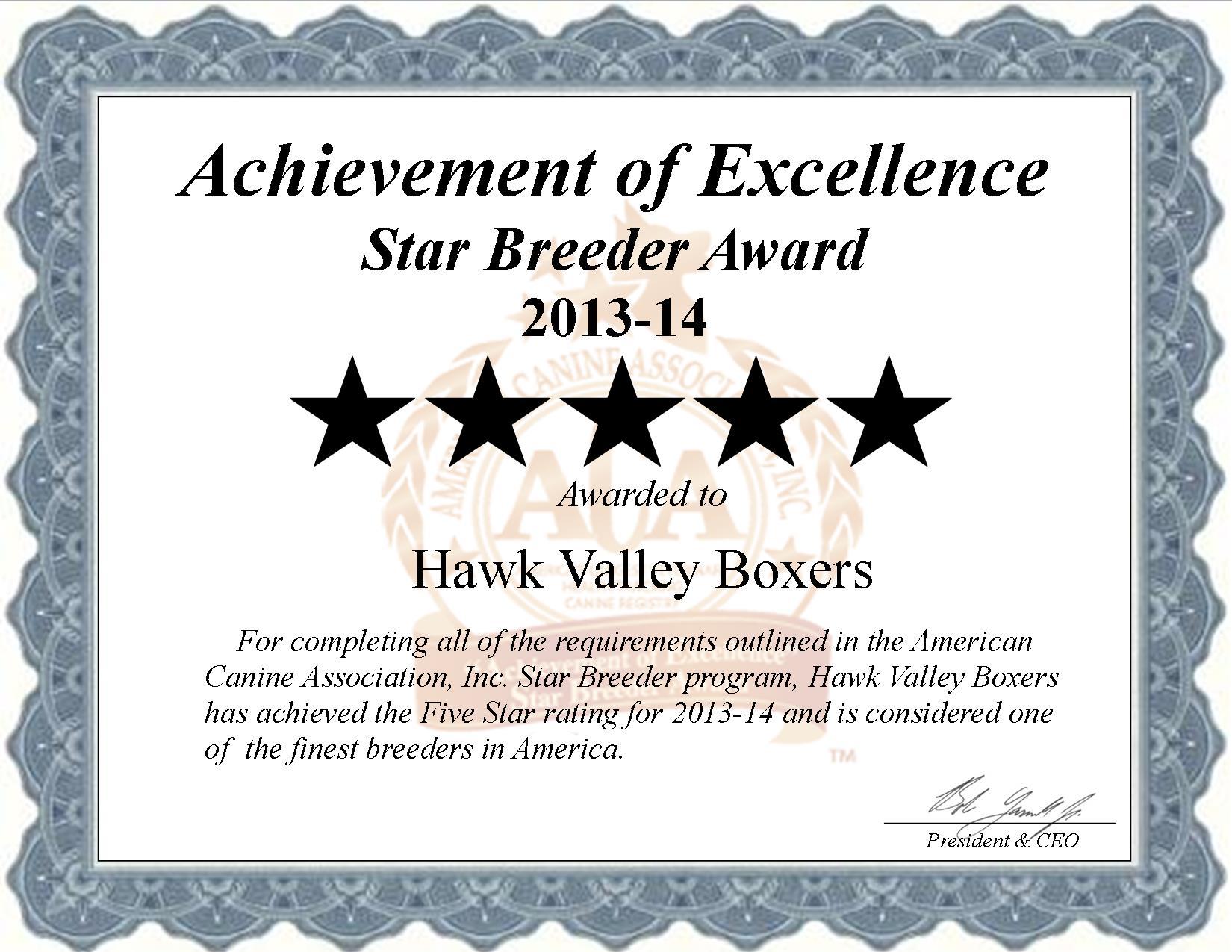 Hawk Valley Boxers Star Breeder Certificate