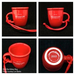 2003 Red Abbey Mug Starbucks Ornament